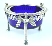 Antique Georgian 950 Sterling Silver Master Salt Cellar W/ 3 Winged Isis Goddess