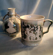 Two Pieces  - Cameo Vase and Pictoral Mug Green Lustre