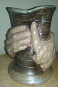 Studio Art Pottery hand crafted Vase of 2 hands throwing turning bending shapes