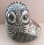 Owl Hand Crafted Mexico Bird Art Ceramic Pottery Red Blue Flowers
