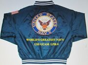 Uss Guam Lph-9 Navy Anchor Embroidered 2-sided Satin Jacket