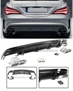 For 14-16 Mb Cla Class Amg Style Rear Bumper Quad Exhaust Muffler Tip Diffuser
