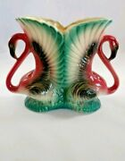 MADDUX OF CALIFORNIA Double Vintage 1950's Handle Flamingo Vase Planter Art Deco