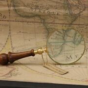 Antique Vintage Magnifying Glass 10cm 4 Brass Wooden Handle Map Nautical Gift
