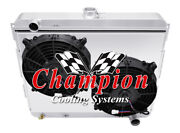 Champion 3 Row Aluminum Radiator For Dodge Plymouth Cars 22in Core Fan Shroud