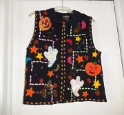 Wilners Sparkle Sequins Beaded Ugly Christmas Hallowen Sweater Vest M