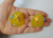Vtg Haute Couture Lucite Turquoise Rhinestone Sea Shell Chunky Clip On Earrings