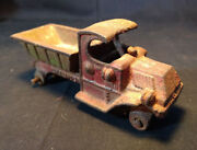 Old Vtg Collectible Cast Iron Champion Dump Truck Toy Red And Green