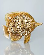 2200 New Jay Strongwater Weston Bejeweled Butterfly Fish Figurine Golden