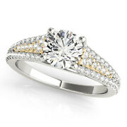 1.33 Ct Round Moissanite Forever One And Diamond Engagement Ring 50l954wg