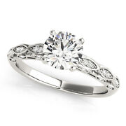 2.13 Ct Round Moissanite Forever One And Diamond Antique Engagement Ring 51l044wg