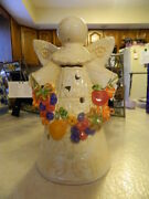 Ceramic Fall Thanksgiving Angel Candle Holder Centerpiece Mantle Leaves Fruit