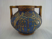 NIPPON VASE, MATT BLUE, HAND PAINTED GOLD, SILVER EMBOSSED, WINGED SOLDIERS