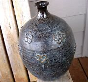 LG Vintage Japan Art Pottery Mid Century Weed Pot Vase Crazing Earthy Abstract