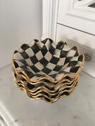 ONE-Mackenzie Childs Courtly Check Ceramic Fluted Breakfast Bowl-6 available