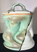 Modern Studio 7 x 5 1/2 Art Pottery Canister with Lid Signed