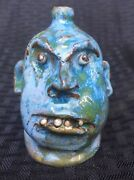 Rare Blue Sandy Marble Face Jug By Marvin