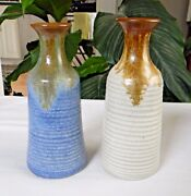 Pair Vintage PIGEON FORGE POTTERY Handthrown BUD VASES Signed A. Huskey NICE!