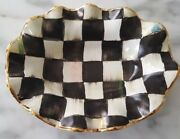 """MacKenzie Childs Ceramic Courtly Check Ruffled Oval Dish-Small  5"""" wide, 6.5"""""""