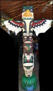 6 Ft Eagle Totem Pole W Animal Faces 6' Wooden Sculpture By Frank Gallagher
