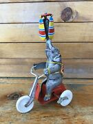 Antique Elephant On Tricycle Tin Toy Windup Made In U.s. Zone Germany
