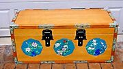 Antique 1920 Chinese Unusual All Oak Blanket Chest W/cloisonne Medallionsandpanels
