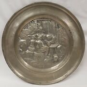 Large Antique Pewter Charger Plate Repousse' Tavern Pub Scene