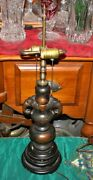 Antique Chinese Asian Metal Table Lamp Elephant Falcon Bird Handles 1