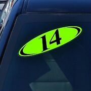 Car Lot Windshield Two Digit Oval Model Year Sticker-15 Packs Black And Chartreuse