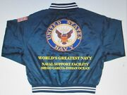 Naval Support Facility Diego Garcianavy Anchor Embroidered 2-sided Satin Jacket