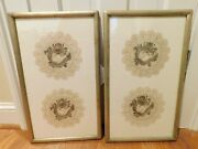 Matched Pair Of Chinese Dragon Embroidered Doilies Framed