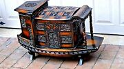 Antique 19c Chinese Wood Figural Carved Pierced Junk Ship Model Lamp W/shou