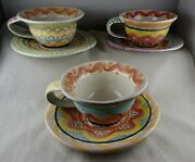 3 Mackenzie Childs Pottery Cup & Saucer Sets - Early Marks