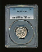 1930 Buffalo Nickel 5c Pcgs Ms 66 Type 2, Five Cents In Recess Rare High Grade