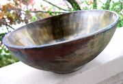 Vintage Raku Studio Art Pottery  Abstract Bowl Signed Pacific Northwest?