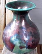 Raku Studio Art Pottery Beaker Vase Contemporary Abstract William K Turner