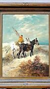 Antique 19c The Fishermanoil On Canvas Of Dutch Fisherman With Mulessigned