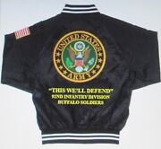 92nd Infantry Division Buffalo Soldiers Army Embroidered 2-sided Satin Jacket