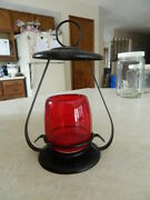 Small Black Metal Lantern Lamp W/ Red Glass Candle Holder Railroad Patio