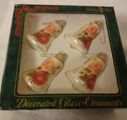 Vintage Christmas Ornaments Made Usa Glass Hand Made Gorgeous Roses Bells In Box