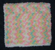 Pink And Aqua Chenille Baby Afghan / Blanket With White Fluffy Edging - So Soft