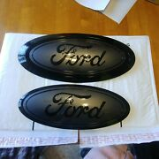 2017-19 Ford F250 F350 Grill And Tailgate Emblem Gloss Magnetic And Black Pair