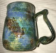 """Hand Spun~Pottery~Signed~Dated~Coffee Mug~Twisted Handle~Cup~4.5"""" T"""