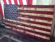 Large Hand-carved Rustic Red/blue American Wooden Flag Charred/burnt