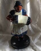 OLD BROWN COUNTY ART POTTERY FIGURINE WOMAN ACCORDIAN PLAYER