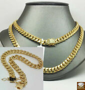 10k Real Menand039s 8mm Gold Cuban Chain Necklace 22 With 10k Bracelet Lobstersetn