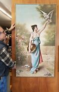 Huge Antique Oil Painting On Canvas Beautiful Woman And Cockatiel Signed Miller