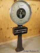 Vintage Warehouse Freight Scale - Antique Factory Lollipop Scale - Over 6ft Tall