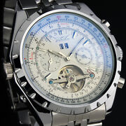 Menand039s Stainless Steel Watch Mechanical Tourbillon White Sub Dial Date Luxury