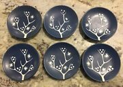 6 Vintage Hand-Painted Danish Art Pottery Dishes or Coasters by Soholm  Denmark
